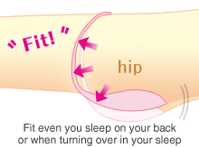 Fit even you sleep on your back or when turning over in your sleep