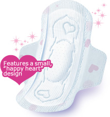 "Features a small, ""happy heart"" design"