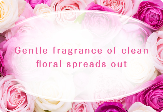 Gentle fragrance of clean floral spreads out