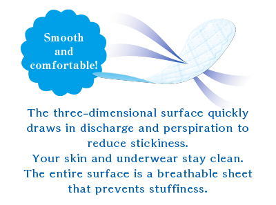 Smooth and comfortable! The three-dimensional surface quickly draws in discharge and perspiration to reduce stickiness. Your skin and underwear stay clean. The entire surface is a breathable sheet that prevents stuffiness.